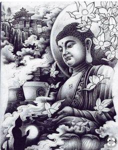 Asian style Buddha art illustration black and white tattoo Geisha Tattoo Design, Buddha Tattoo Design, Buddha Tattoos, Body Art Tattoos, Tattoo Drawings, Hand Tattoos, Sleeve Tattoos, Tatoos, Buddha Drawing