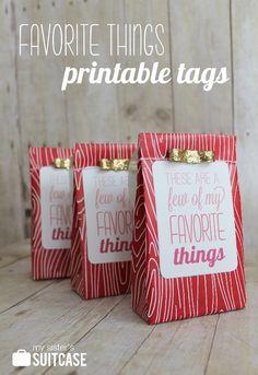 Favorite Things gift tags printable {color and b versions} via www.sisterssuitcaseblog.com