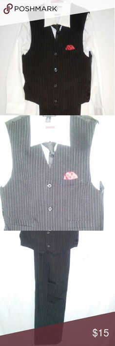 Boys pinstripe pantset Set is black with one pinestripe ,it has a red permanent red handkerchief like accent in pocket.It also has 2 faux pocket on the vest. George Bottoms Formal
