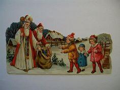 Annons på Tradera: Gamla Bokmärken - Tomten och Sankt Nikolas kommer med julklappar - Äldre märke.