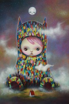 yosuke ueno, illustration, painting, japanese, pop, surrealism, colorful, detailed, juxtaposition, symbolism, characters, upper playground