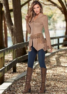 Step your way into fall with this faux suede look! Venus faux suede and lace jacket with Venus color skinny jeans and Venus lace up tall boot. Classy Outfits, Pretty Outfits, Fall Outfits, Casual Outfits, Girl Fashion, Fashion Outfits, Womens Fashion, Fashion Trends, Emo Fashion