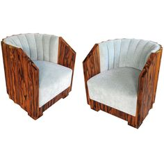 Exceptional Pair of French Art Deco Black Walnut Club Chairs w/Scalloped Backs | From a unique collection of antique and modern club chairs at https://www.1stdibs.com/furniture/seating/club-chairs/