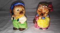 A cute vintage anthropomorphic pair of mole salt and pepper shakers. Made by PY in Japan. This are too cute to pass. Condition: There is a very small nick on the hat of the male mole and the cork bottom is missing from the female mole. Other than that they are still in good condition.