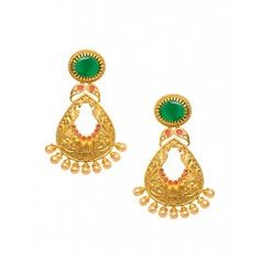 Golden Leaf Shape Earrings with Green Stone Top