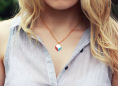Two Colour Chevron Geometric Necklace Red/Blue por FawnAndRose, £14,00