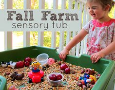 Fall Sensory Tub with examples of different areas of learning included in sensory tubs. This is an awesome site with TONS of activities for you to do with toddlers...even BABIES!