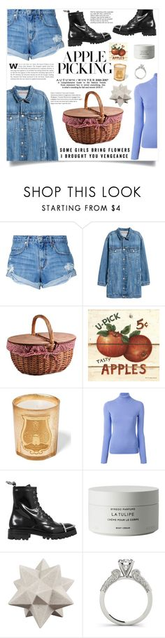"""""""Harvest Time: Apple Picking"""" by violet-peach ❤ liked on Polyvore featuring Nobody Denim, H&M, Picnic Time, Maze, Emilio Pucci, Alexander Wang, Byredo, Moe's, Tiffany & Co. and applepicking"""