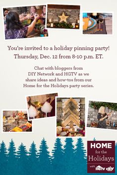 It's almost party time! We're 45 minutes away from our Home for the Holidays Pinterest party!