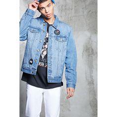 Forever21 Patched Denim Jacket ($35) ❤ liked on Polyvore featuring men's fashion, men's clothing, men's outerwear, men's jackets, light denim, men's embroidered bomber jacket, mens short sleeve jacket and mens leather sleeve denim jacket
