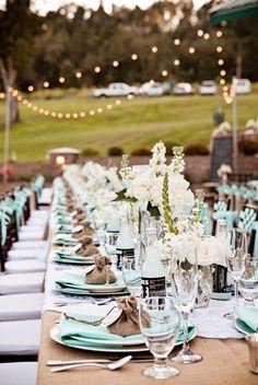 love this table setting... aqua + burlap + white flowers