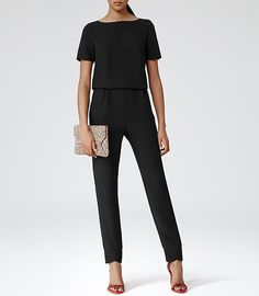 Womens Black Button Back Jumpsuit - Reiss Link