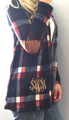 Monogram Navy Plaid Cardigan