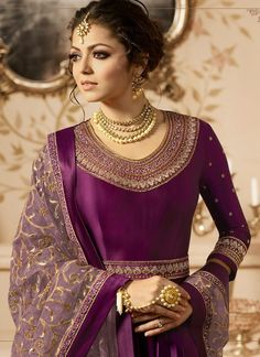 Buy Drashti Dhami Wine color Linen satin wedding anarkali in UK, USA and Canada Anarkali Tops, Anarkali Suits, Pakistani Dresses, Indian Dresses, Indian Clothes, Ethnic Fashion, Indian Fashion, Designer Anarkali, Indian Suits
