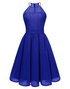 BeryLove Womens Short Floral Lace Bridesmaid Dress Halter Swing Chiffon Party Dress BLP7007RoyalBlueXL ** Make sure to examine out this incredible item. (This is an affiliate link). #bridesmaiddresses