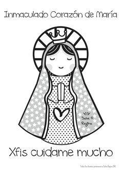 Inmaculado corazón de María. Dot Painting, Stone Painting, Aluminum Foil Art, Virgin Mary Art, Hand Quilting Patterns, Catholic Crafts, Catholic Religion, Holy Mary, Pallet Art