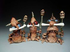 High art class in The Dalles, Oregon. Orr introduced James DeRosso to clay and it's been a part of his life ever since. Ceramic Monsters, Clay Monsters, Little Monsters, Polymer Clay Projects, Clay Crafts, Ooak Dolls, Art Dolls, Biscuit, Clay Figures