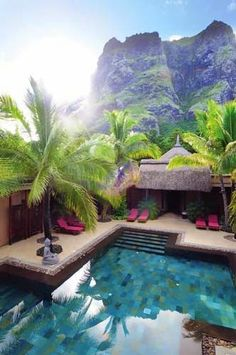 Homestead Resort and Spa, Utah A well balanced pool with waterfall. Caribbean Beach Resort Dinarobin Resort & Spa in Mauritius Bali Resort, Resort Spa, Resort Villa, Dream Vacations, Vacation Spots, Places To Travel, Places To See, Travel Destinations, Beautiful World