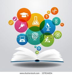 Open books and icons of science. The concept of modern education, File is saved in AI10 EPS version. This illustration contains a transparen...