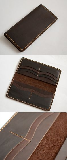 Handmade wallet Mens leather wallet Hand sewing Brown bifold wallet Gift for men Long wallet