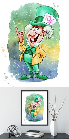 Alice in Wonderland Mad Hatter Watercolor Print Archival Fine Art Print Children's Wall Art Home Decor Wall Hanging Watercolor Disney, Watercolor Cards, Watercolor Print, Disney Kunst, Disney Art, Mad Hatter Disney, Disney Classroom, Book Wallpaper, Childrens Wall Art