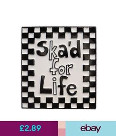 Collectable Badges Ska'D For Life Ska Music Rude Boy Two Tone Mod Metal Enamel Badge Scooter Rider #ebay #Collectibles
