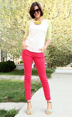 "What I Wore: Neon Graveyard  whatiwore.tumblr.com    okay, I seriously need colored jeans. I am mad I didn't keep my pants from soph. year of high school when they weren't ""cool""."