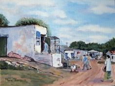 Quaint little Bokkom Lane in Velddrif where age old customs of drying mullet can still be seen South African Art, My Land, West Coast, Ocean, Painting, Beach, Crafts, Manualidades, The Beach