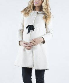 Love this Cream & Black Maternity Swing Coat - Women by Mom2moM on #zulily! #zulilyfinds
