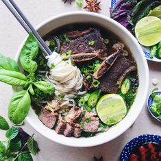 Shortcut Short Rib Pho in a Slow Cooker Short Ribs Slow Cooker, Beef Short Ribs, Berkeley Bowl, How To Make Pho, Pho Recipe, Rib Meat, Beef Bone Broth, Asian Soup, Hoisin Sauce