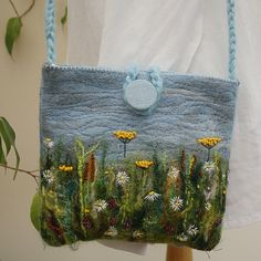 Embroidered Felted Bag - Meadows
