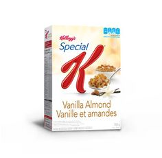 Start your day on the right track with Special K* Vanilla Almond Cereal. Smooth vanilla plus the crunch of almonds and crispy flakes for 110 calories and 1g fat per serving.