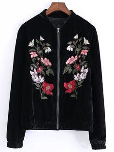 Samt Jacke mit Blumen Stickereien-schwarz