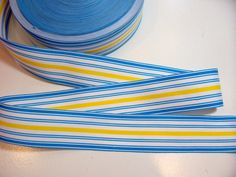 Blue Ribbon Blue with White and Yellow Stripes by GriffithGardens