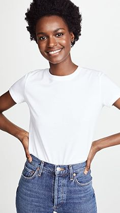 Amazing offer on Vince Essential Crew Tee online - Gamine Style, Fashion Project, Tee Online, White Tees, Stretch Denim, Shirt Style, Cool Outfits, Women Wear, My Style