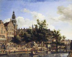 Jan van der Heyden: Gezicht op de Oudezijds Voorburgwal en de Oude Kerk in Amsterdam, circa 1670; olieverf op paneel; 41,4 x 52,3 cm.