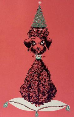 Mad Men Poodle. Mid-century Christmas Card. Retro Christmas Card.