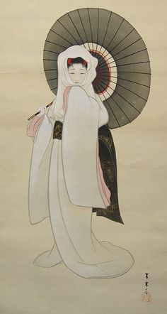 Heron Maiden, Likely attributable to Iwasa Koko, b. 1884 in Nagoya, student of Taniguchi Kokyo in Kyoto.  heron maiden was term used for lady in white gown with black umbrella.
