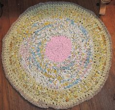 "Hand Made Crochet Rag Rug ~NEW 32"" PINKOLISOUS Shabby Country CHIC PERFECT  #PINKOLICIOUSRAGRUG"