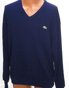 Vintage Lacoste Navy Blue V-Neck Acrylic Pullover Sweater - XL