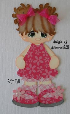 Girl in Pink Paper Piecing Premade 4 Border Scrapbook Albums DANDERSON651 | eBay
