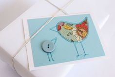 One only... Mother bird card with button chick, sewn paper design. $7.00, via Etsy.
