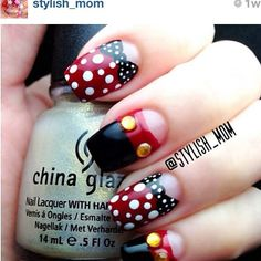 I'm guessing these nails are Minnie/Mickey inspired.  They are cute!