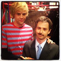 New cast members Brooks Wheelan and John Milhiser backstage during their first #SNL.