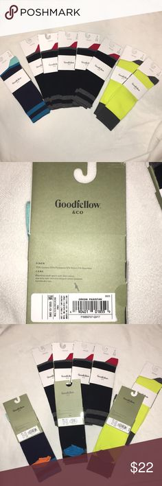 Goodfellow & CO crew socks 8 pairs of crew socks package: 1 blue, 5 black, 2 yellow /// 70% cotton and the rest is polyester, nylon, and spandex Goodfellow & CO Underwear & Socks Casual Socks