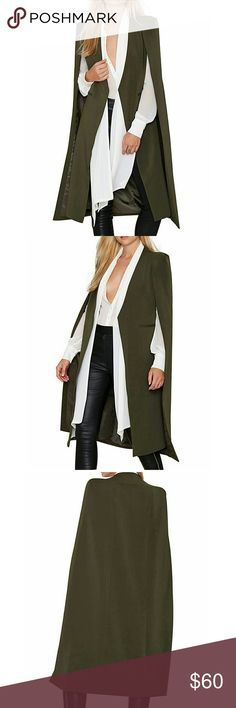 Chic olive green long cape blazer - trench coat Fabric:90%Polyester,10% Spandex Lightweight Nice for the Spring Unique Features:This Elegant Cloak is Satin Lined,Cape Design means it overlaps and covers your shoulders giving a flowy effect and exposes your arms, open front with no buttons   ➡➡➡➡Size:inch:  S:Length--38.58--Bust--34.64  M:Length--39.37--Bust--36.22  L:Length--40.15--Bust--37.79  XL:Length--40.94--Bust--39.37  XXL:Length--41.73--Bust--40.9 Jackets & Coats Trench Coats