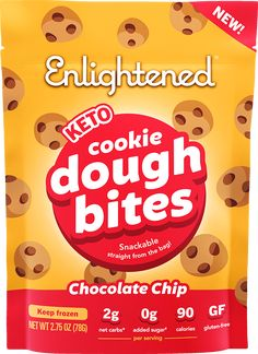 The dough-riginal that started it all. Classic chocolate chip cookie dough, as featured in our Caramel Chocolate Double Dough ice cream! These cookie dough bites are low calorie, keto-friendly, gluten-free, and certified delicious.Top your next sundae or snack straight out of the bag. With a can-dough attitude, anythin Enlightened Ice Cream, Cheese Cultures, Snack Recipes, Snacks, Unsweetened Chocolate, Chocolate Caramels, Chocolate Chip Cookie Dough, Natural Flavors, Cocoa Butter