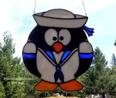 Stained Glass Penguin Suncatcher Penguin in Sailor Suit US