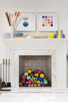 Love the pops of color on this mantel!