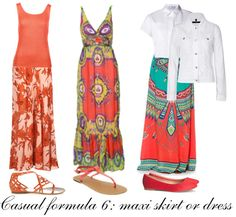 Casual outfit formula 6: maxi skirt or dress | 40plusstyle.com #40PlusCasualStyleChallenge